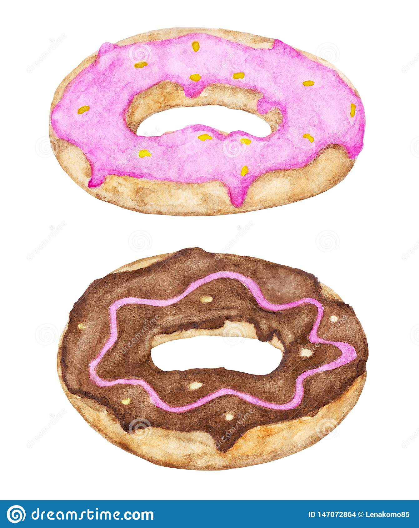 Two glazed donuts with pink and chocolate topping.