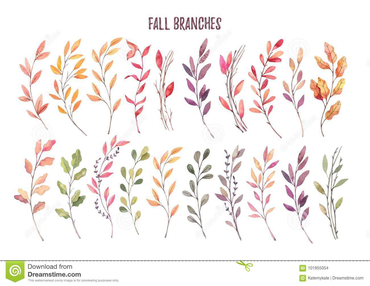 Hand drawn watercolor illustrations. Autumn Botanical clipart. S