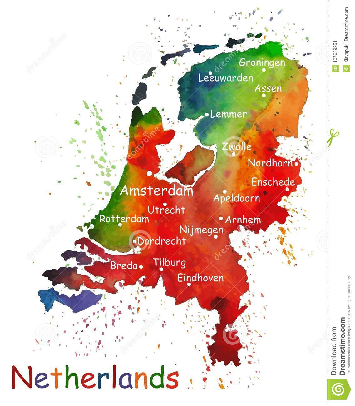 Hand Drawn Watercolor Map Of Netherlands Stock Vector