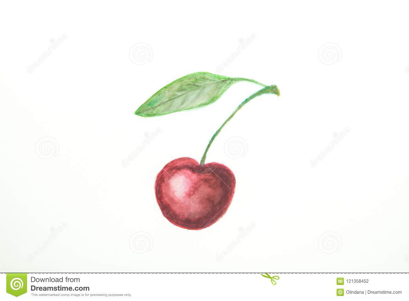 Hand Drawn Watercolor Painting of Ripe Juicy Single Sweet Cherry with Stem Green Leaf in Doodle Kids Style. White Paper Background