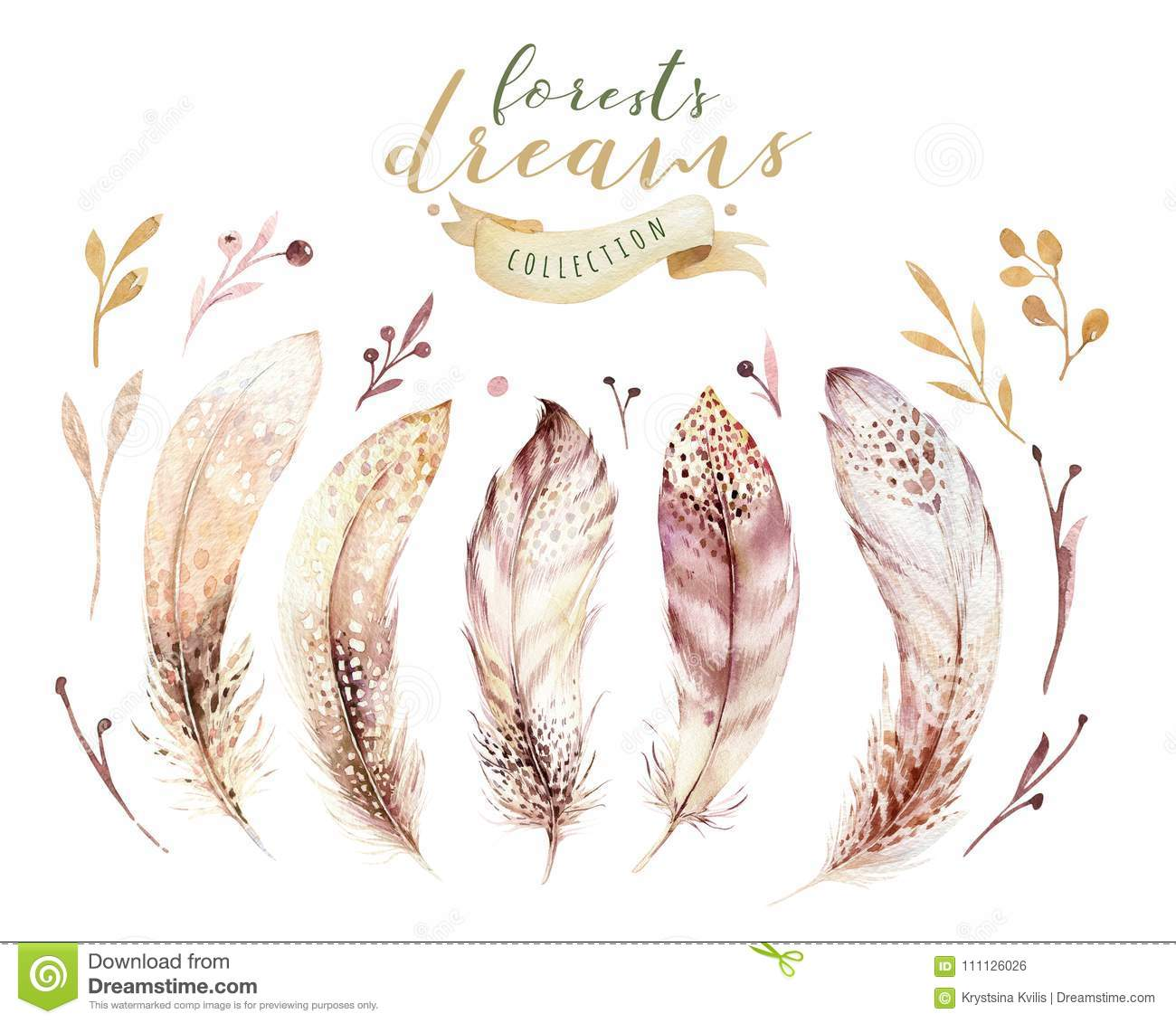 Hand drawn watercolor paintings vibrant feather set. Boho style wings. illustration isolated ont white. Bird fly design