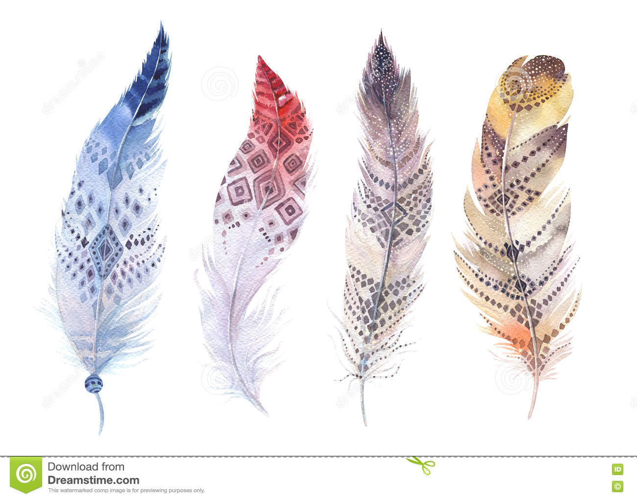 Hand Drawn Watercolor Paintings Vibrant Feather Set Boho