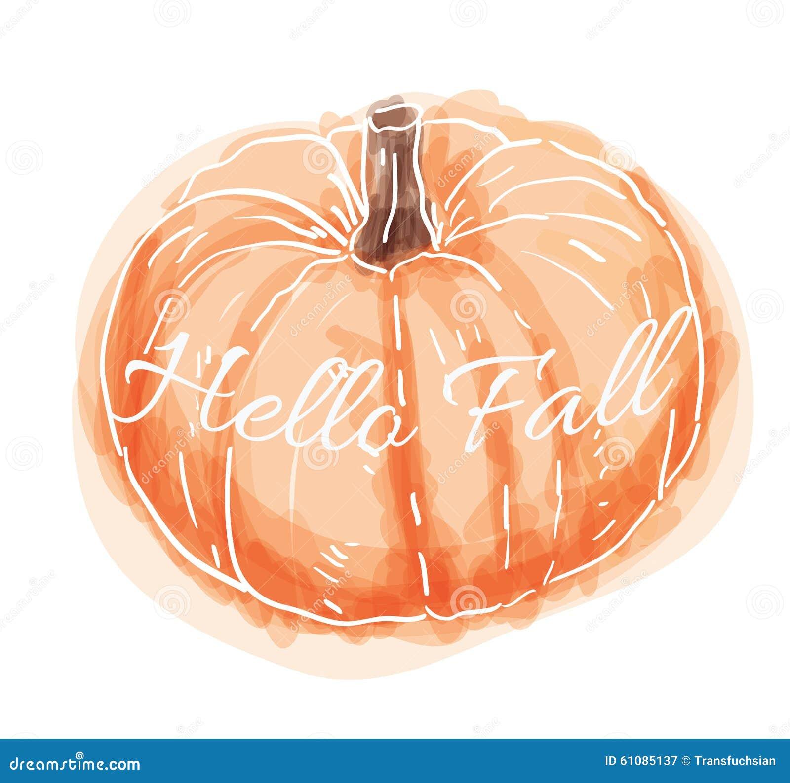 Hand Drawn Watercolor Pumpkin