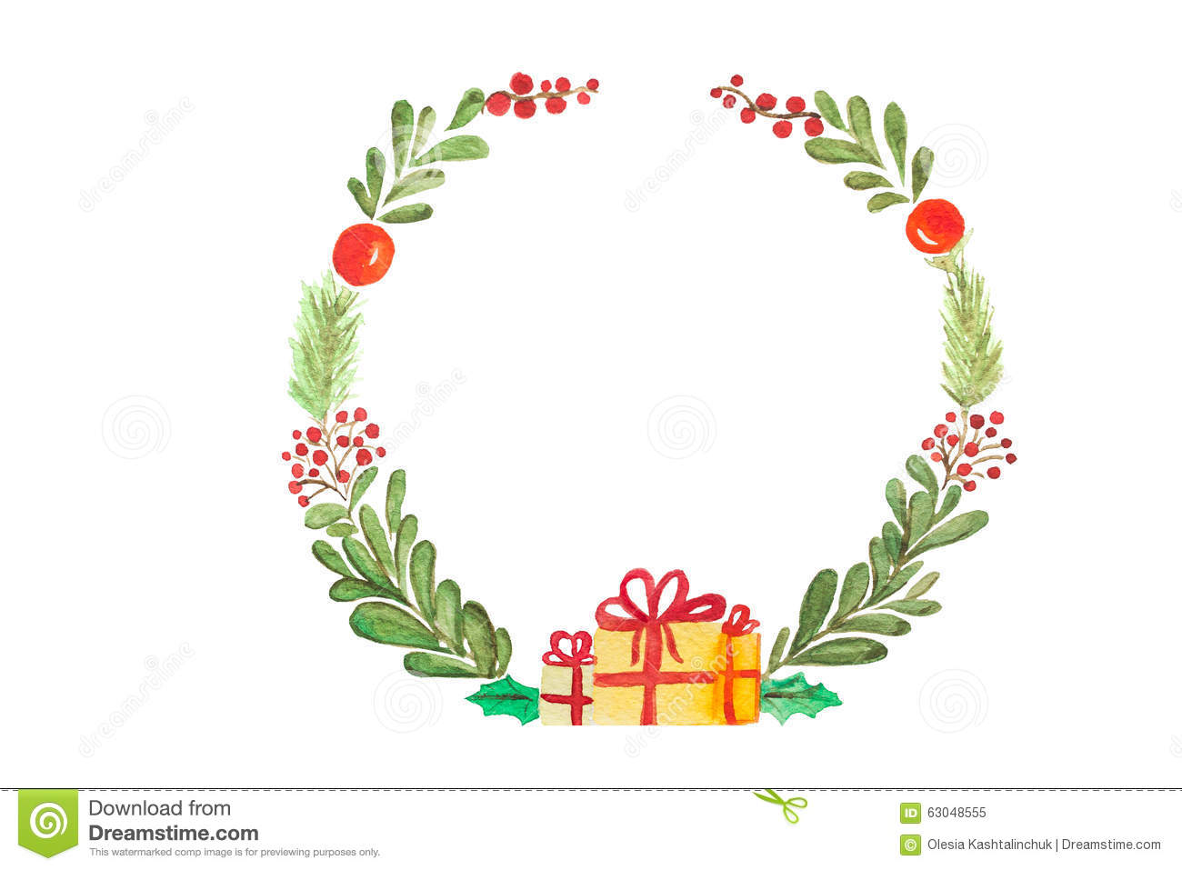 Hand Drawn Watercolor Raster Illustration. Christmas Wreath On White ...