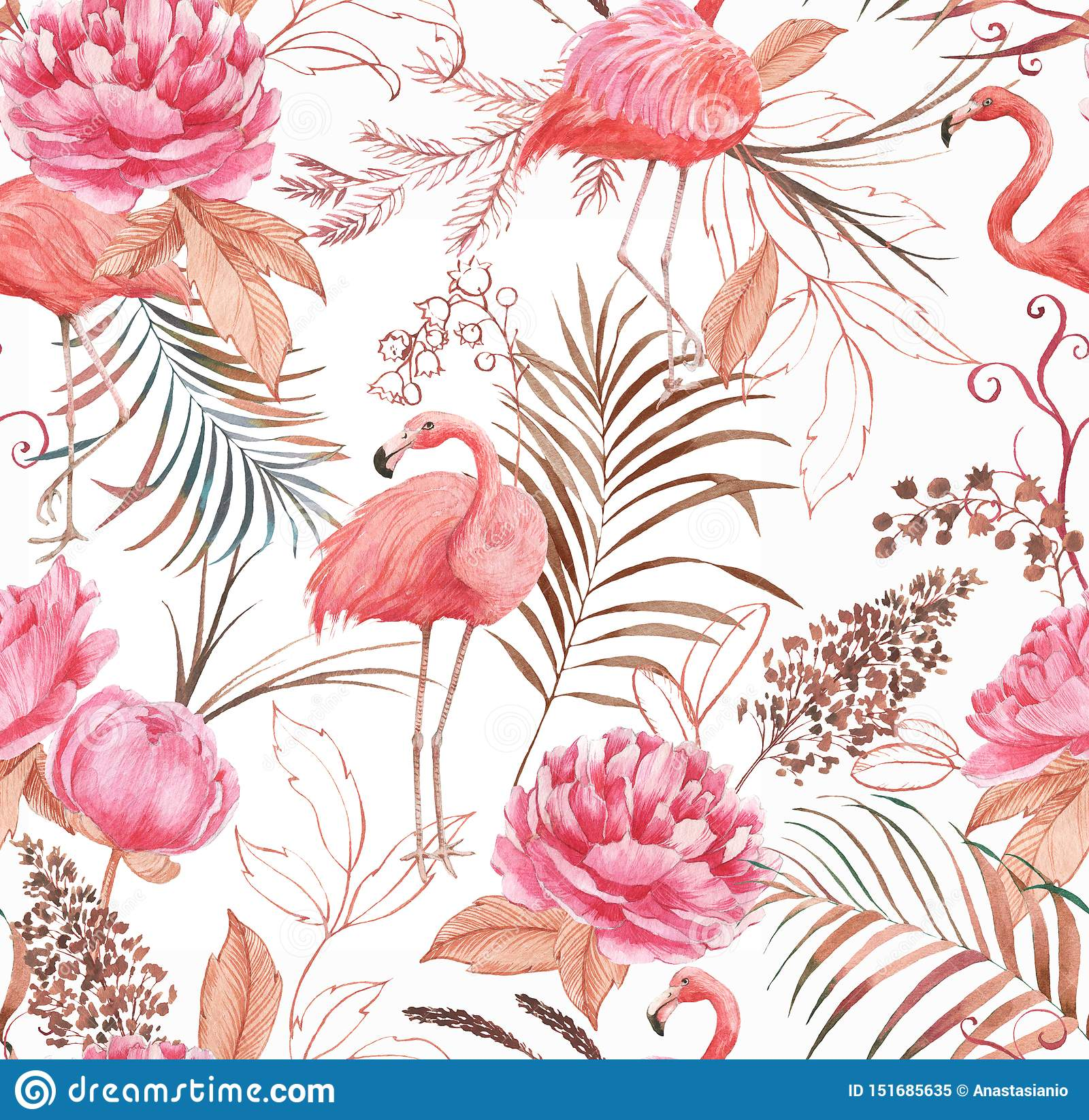Hand drawn watercolor seamless pattern with pink flamingo, peony and decorative plants.
