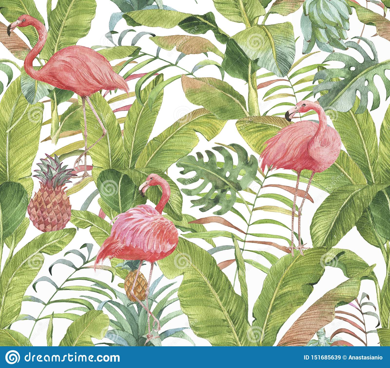 Hand drawn watercolor seamless pattern with pink flamingo, pineapple and exotic plants.