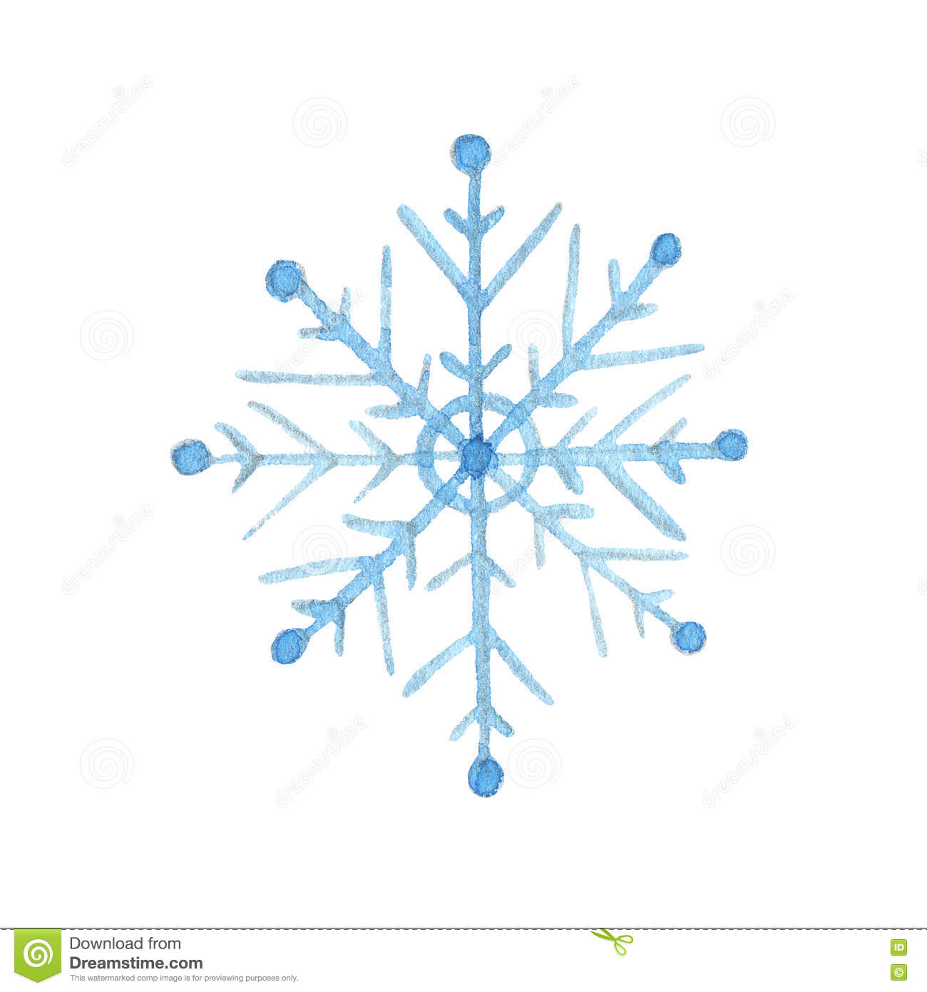 Hand drawn watercolor snowflake isolated on white