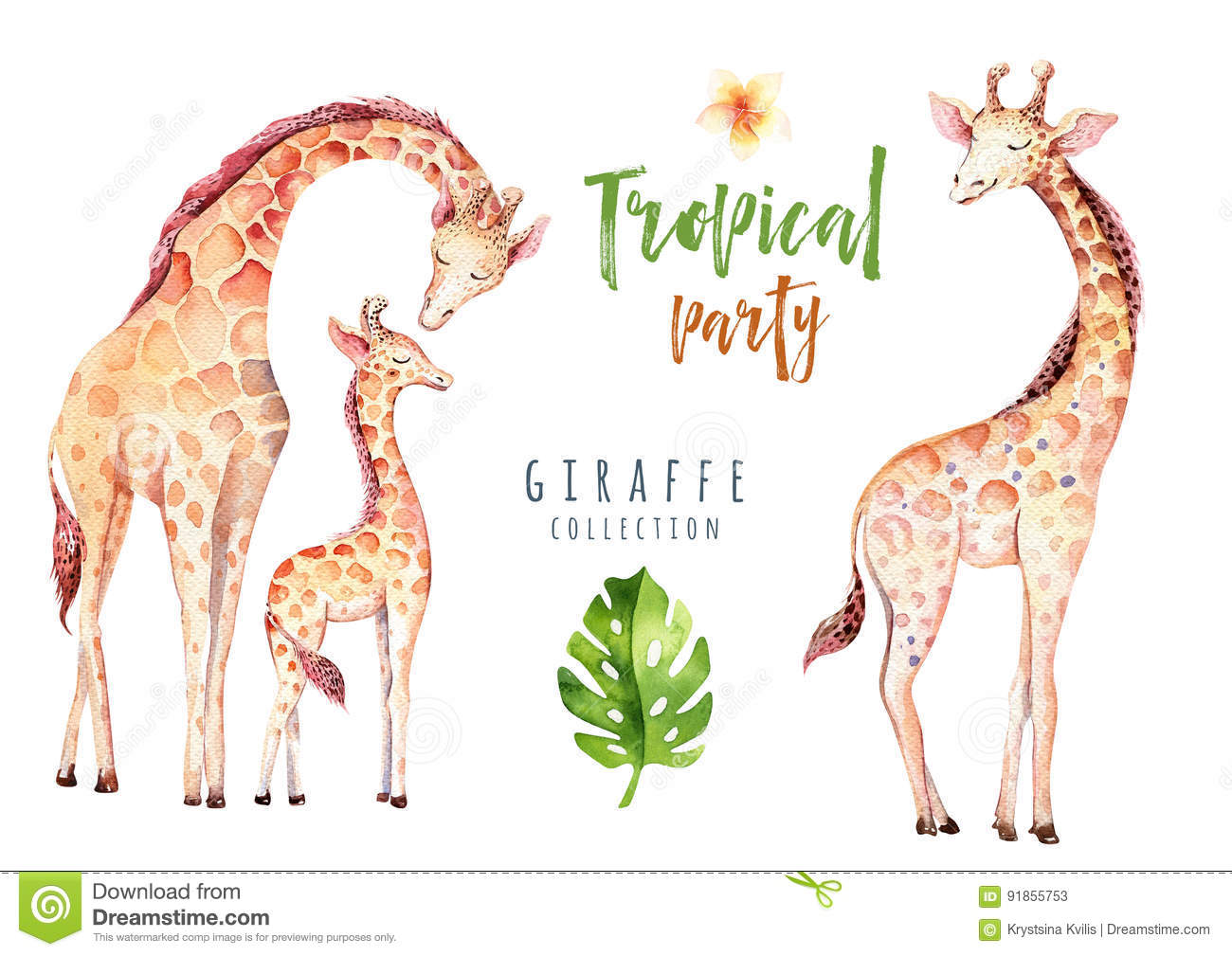 Hand drawn watercolor tropical plants set and giraffe. Exotic palm leaves, jungle tree, brazil tropic botany elements