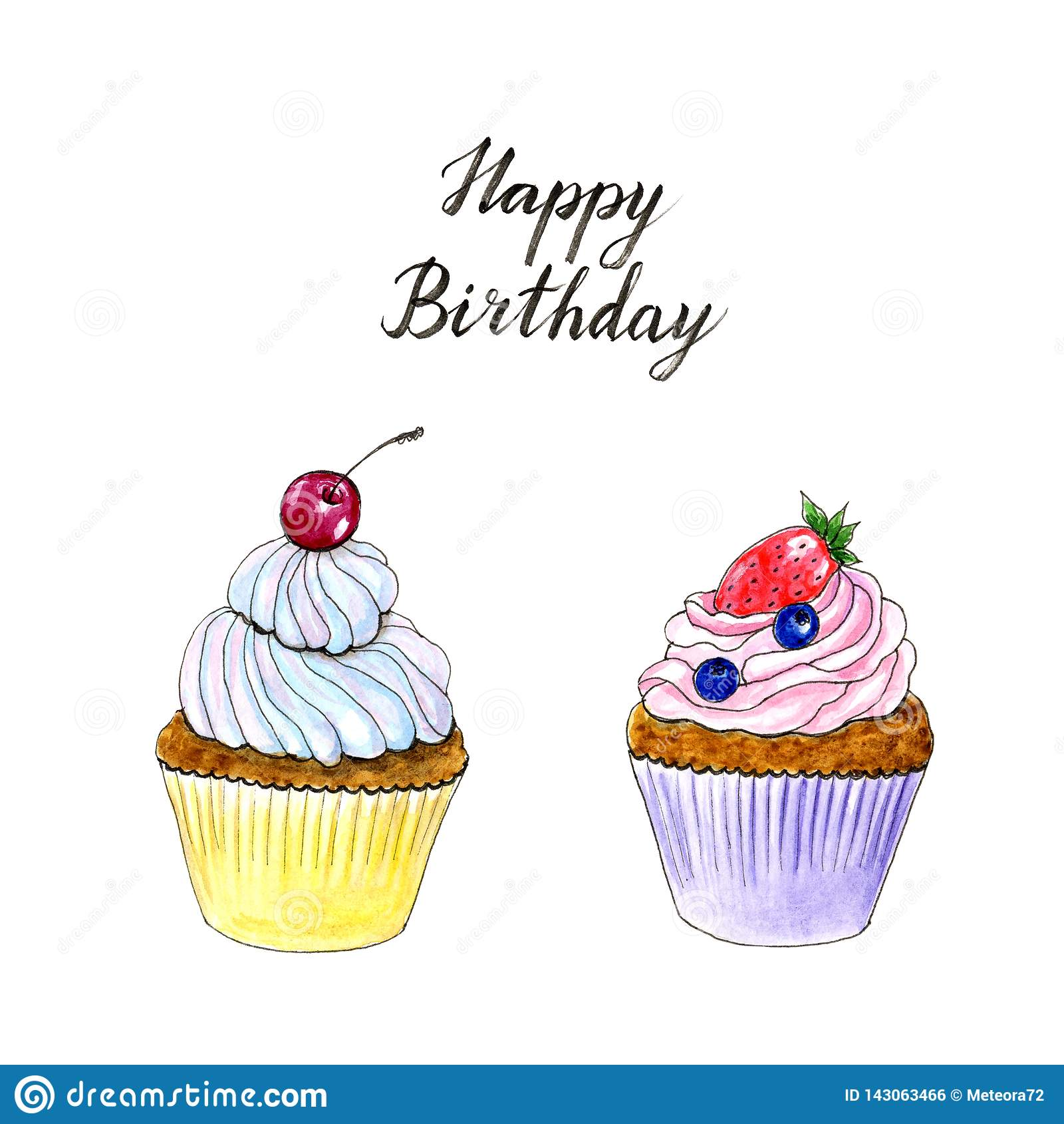Cool Hand Drawn Watercolor Two Cupcakes Birthday Card Stock Funny Birthday Cards Online Eattedamsfinfo