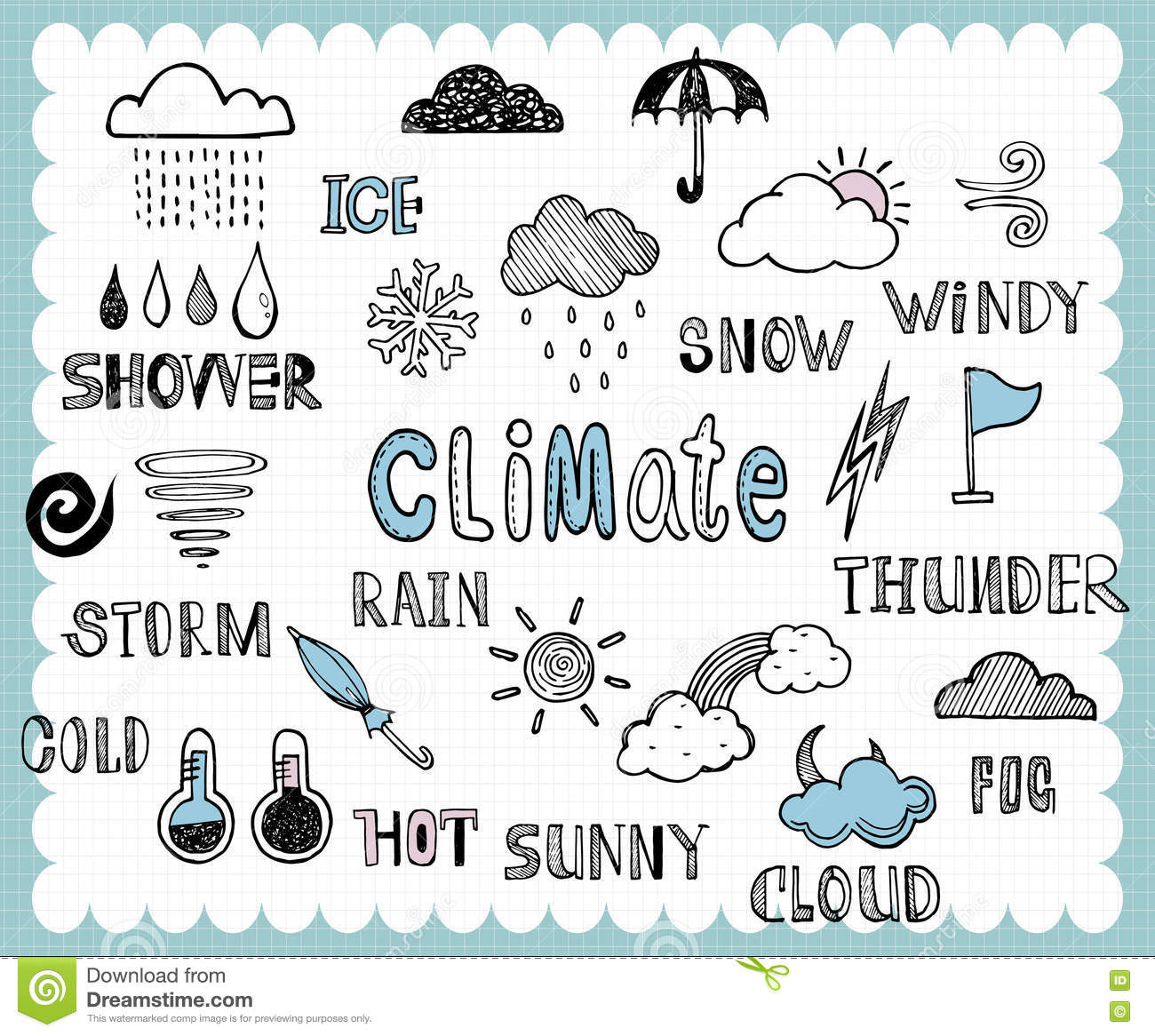 illustration with weather icons related words in hand drawn style and on the grid background all text and illustration is hand drawn