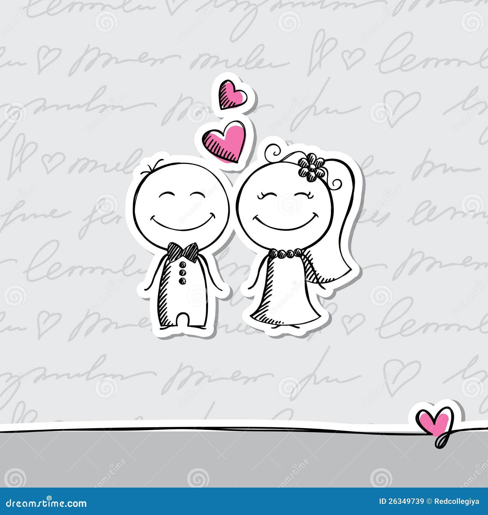 Line Drawing Wedding Couple : Hand drawn wedding couple stock vector illustration of