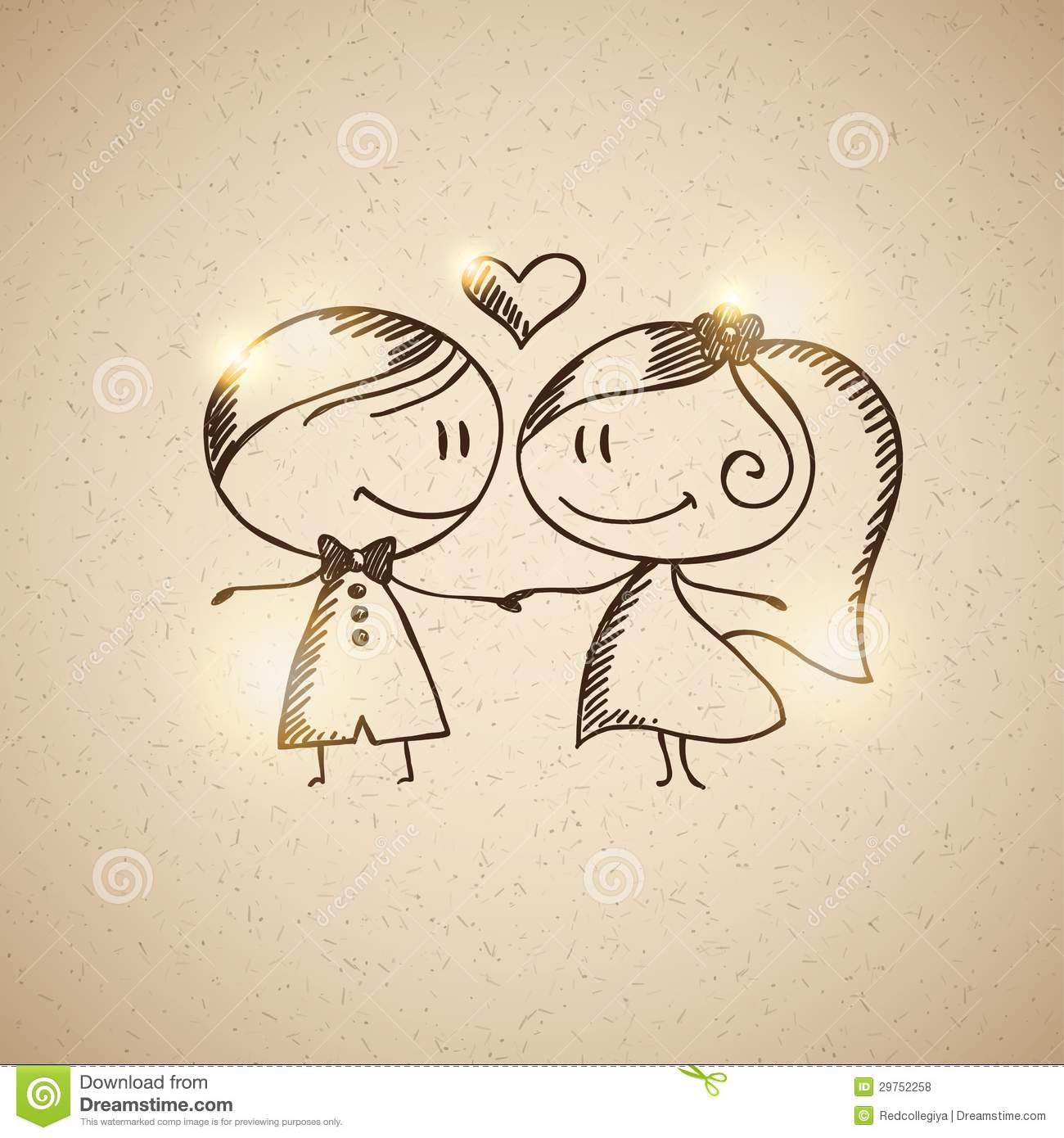 Hand Drawn Wedding Couple Royalty Free Stock Photos Image 29752258
