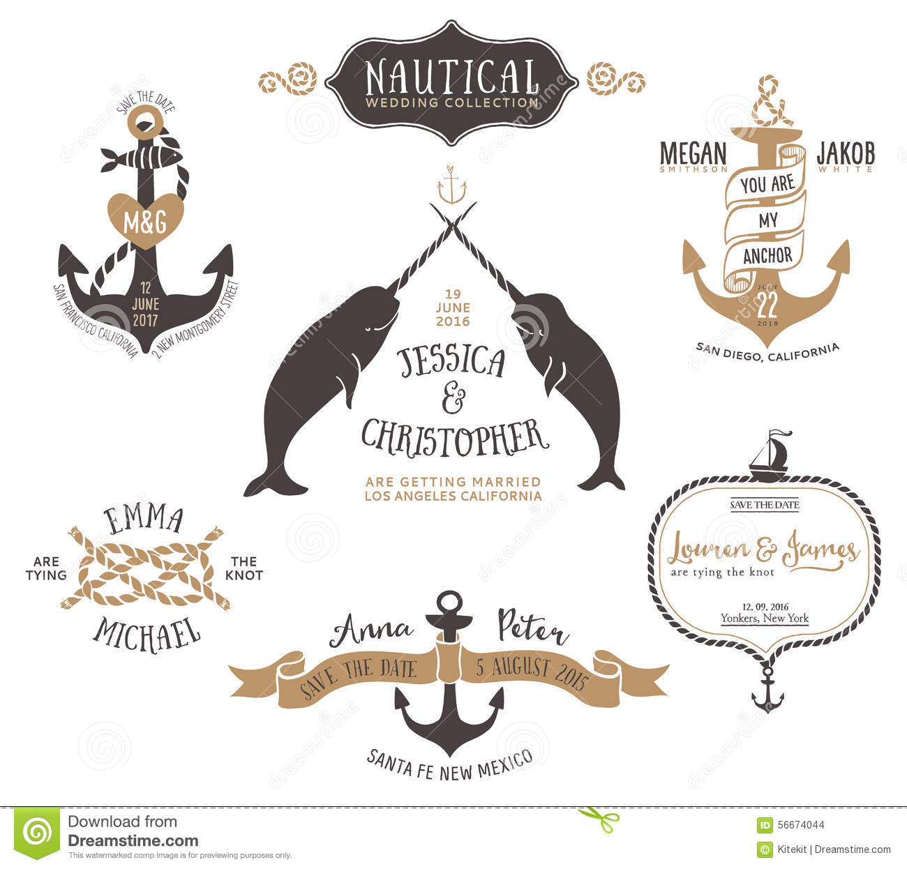 hand drawn wedding invitation logo templates in nautical style