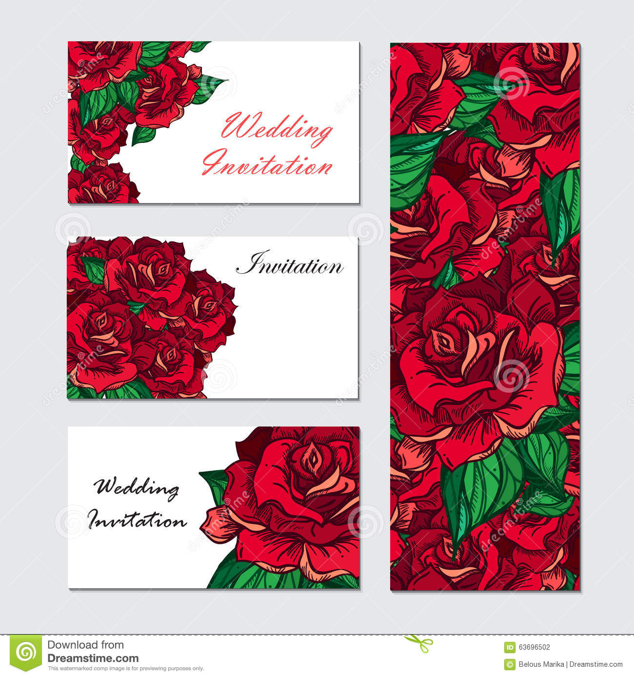 Hand Drawn Wedding Rose Invitation Stock Illustration - Illustration ...