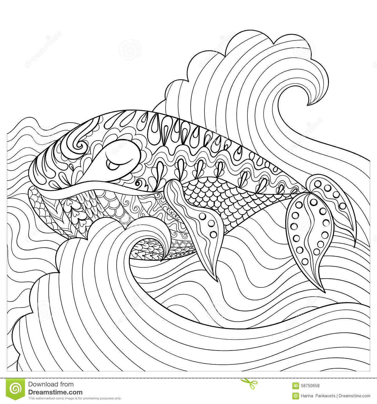 hand drawn whale in the waves for antistress coloring page with