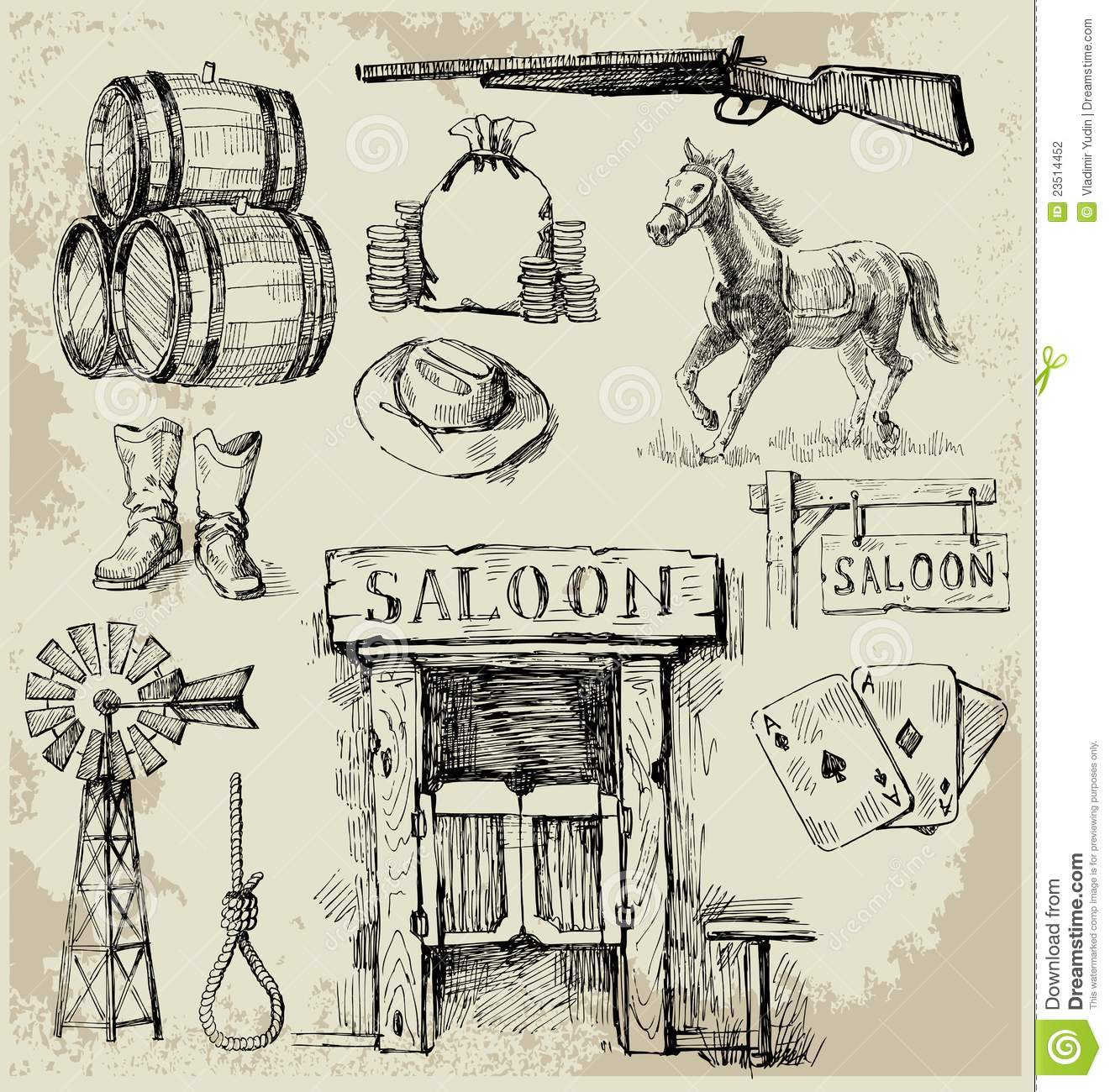 Hand drawn wild west set stock vector image of house - Dessin saloon ...