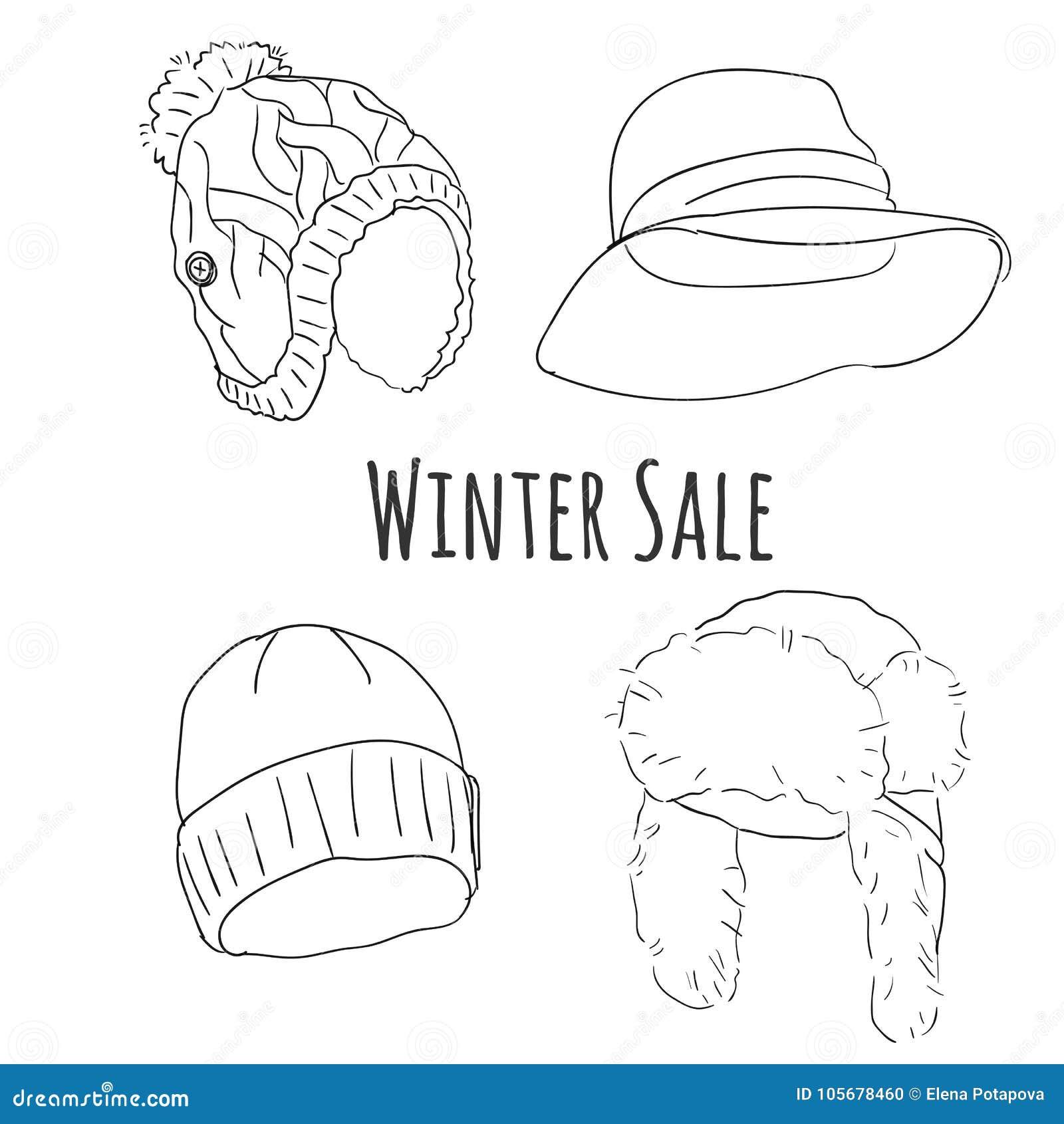 46c54793 Hand Drawn Winter Hats Vector Set. Stock Vector - Illustration of ...