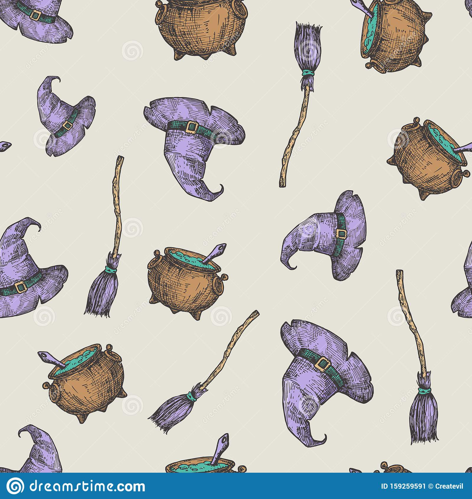 Hand Drawn Witch Hat, Broom and Cauldron Vector Seamless Background Pattern. Halloween Celebration Greeting Sketches