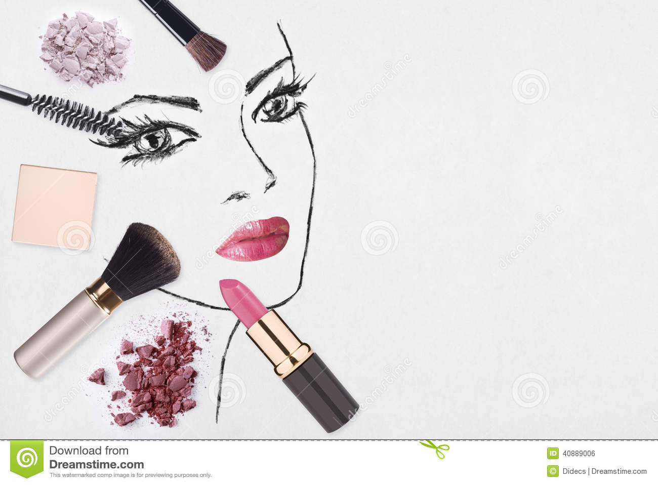 Hand Drawn Woman Face And Make Up Products Stock