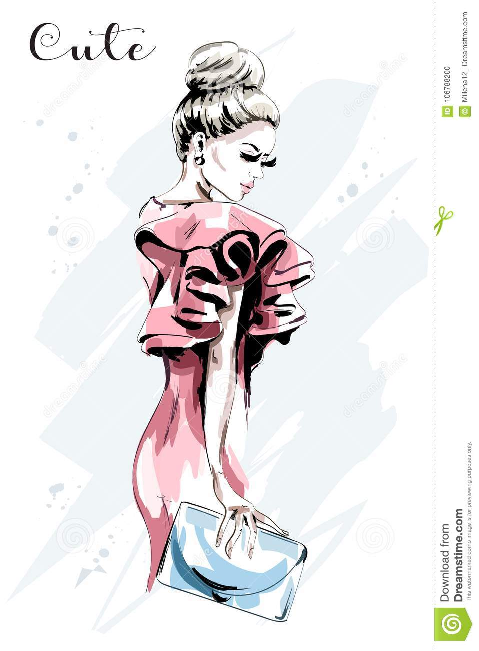 Hand drawn woman portrait. Beautiful young woman in fashion dress. Stylish lady with hand bag. Sketch.