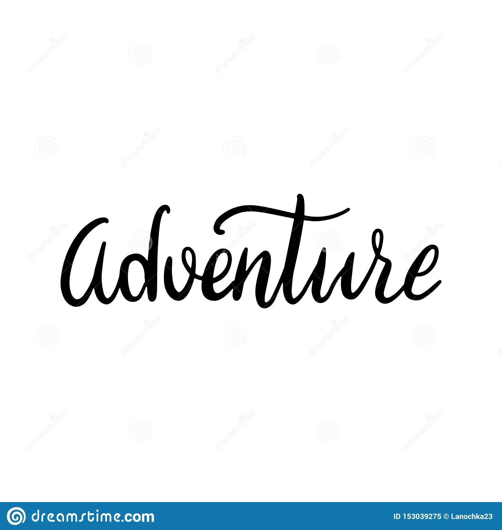 Hand drawn word Adventure. Brush pen lettering with black phrase isolated on white background