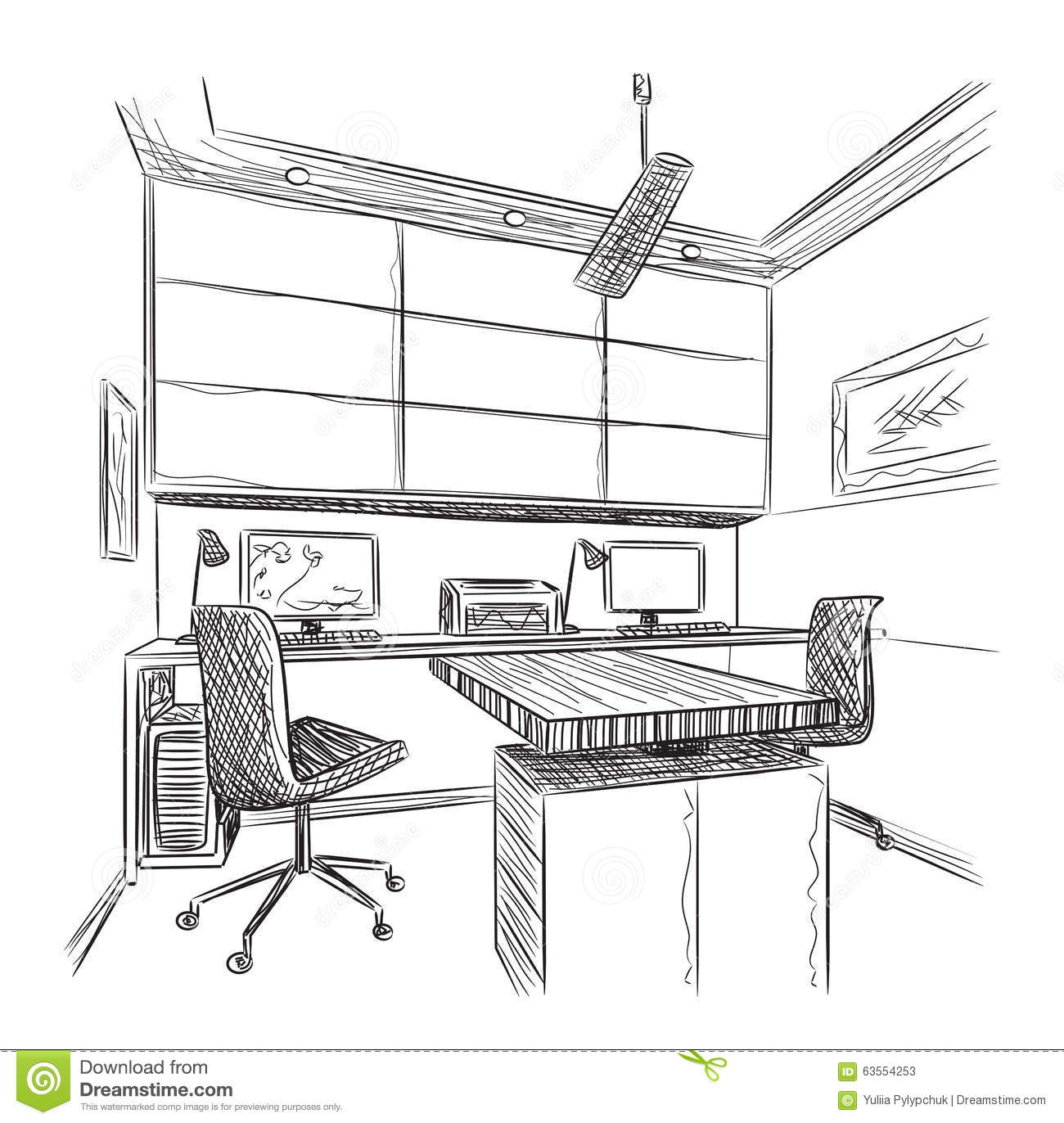 Hand Drawn Workplace Stock Vector Illustration Of Line 63554253