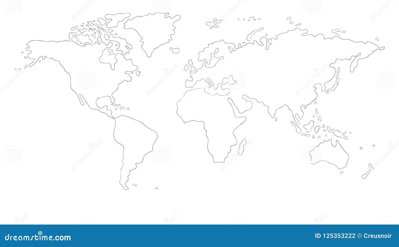 Hand drawn world map stock illustration. Illustration of sketch ...