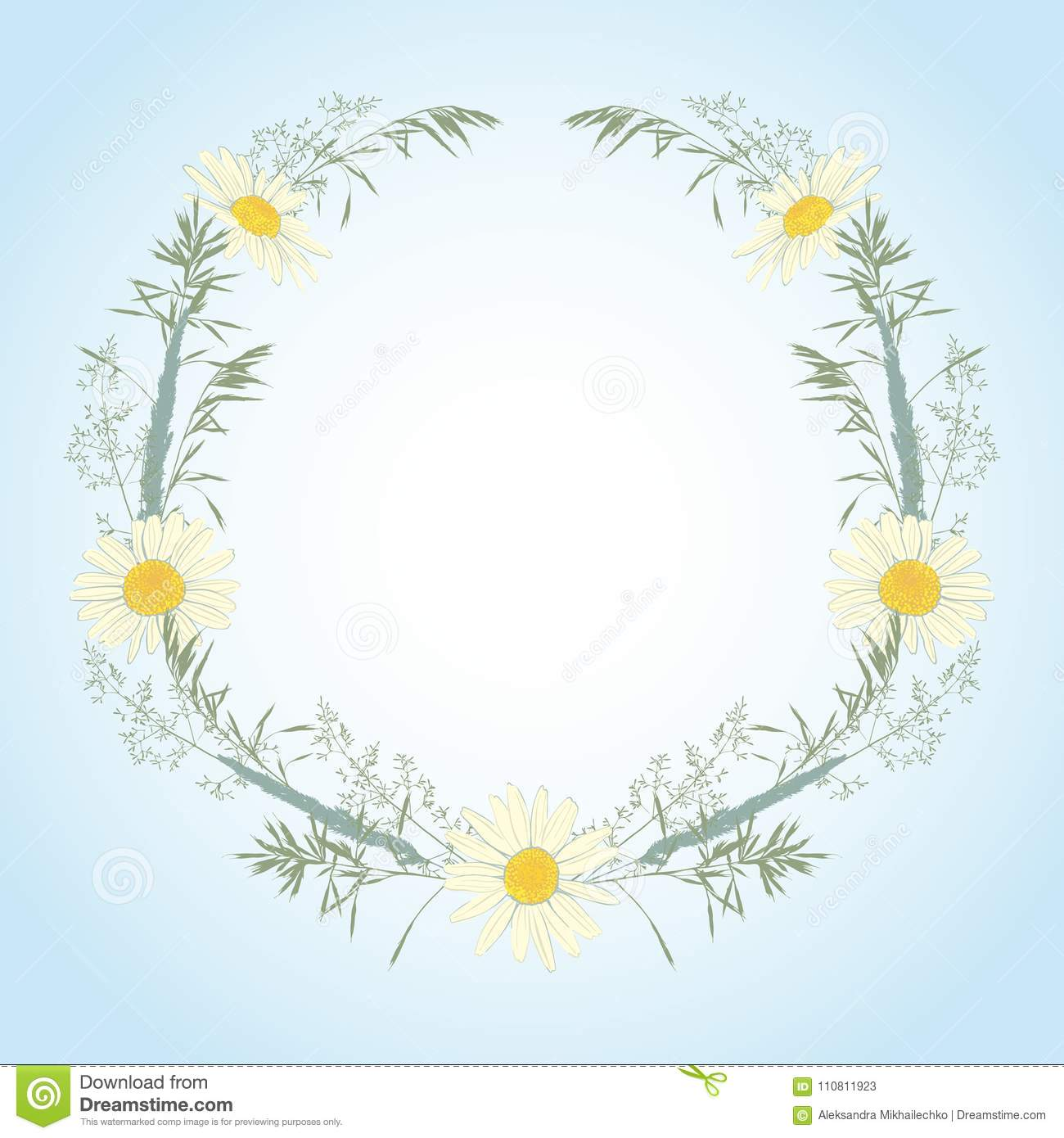 Hand Drawn Wreath With Camomile And Herbs  Stock Vector