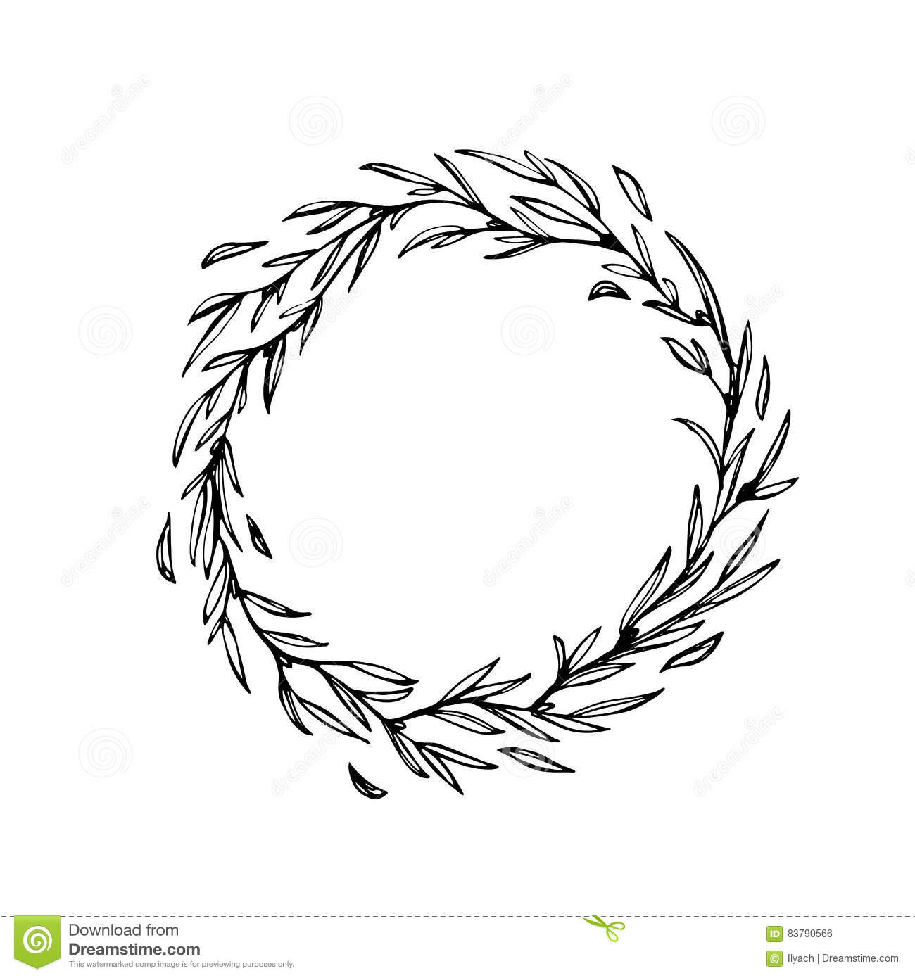 Christmas Garland Drawing.Hand Drawn Wreath Ornament Decoration Vector Stock Vector