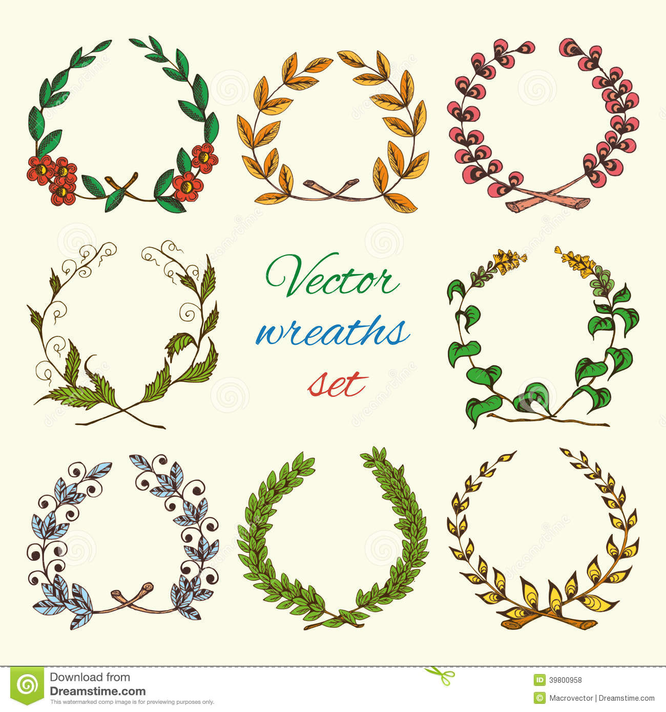 hand drawn wreaths colored set stock vector image 39800958