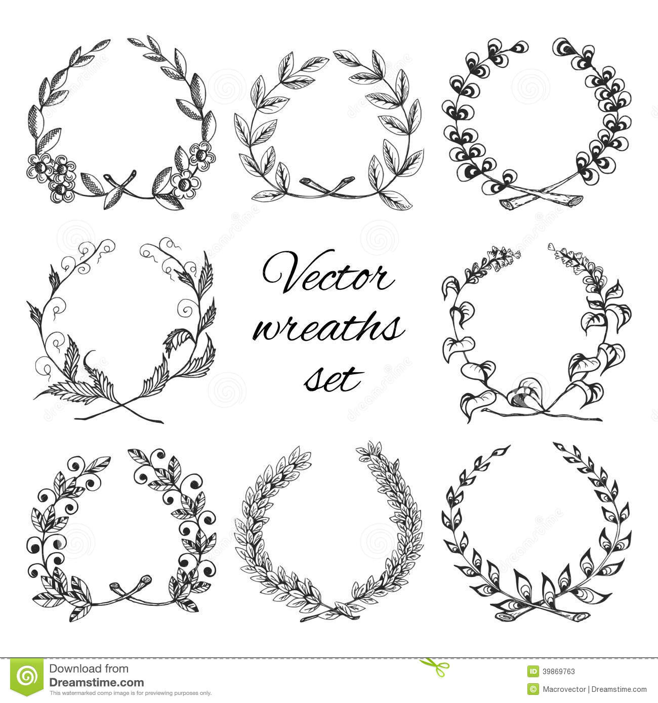Hand Drawn Wreaths Set Stock Vector Image 39869763