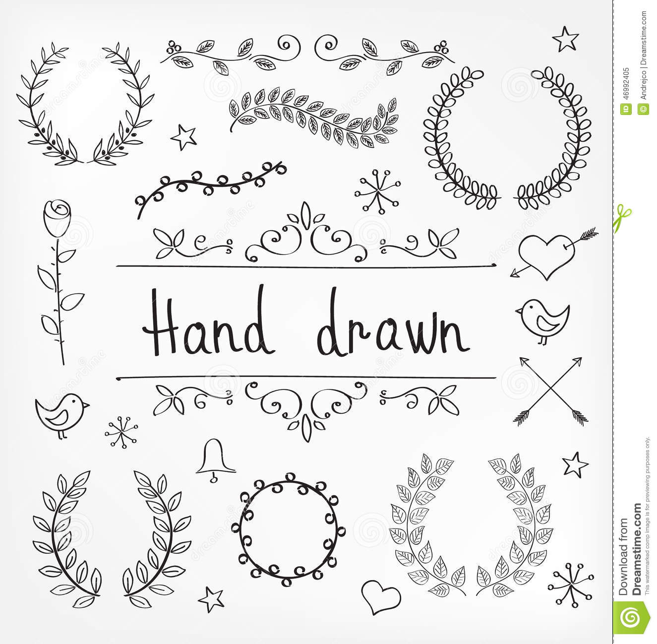 Hand drawn vector laurel wreaths and ornament decorations