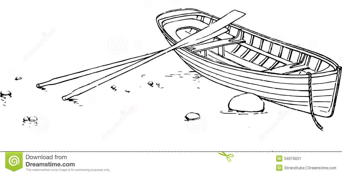 Rowboat Drawing Rowing boat with oars stock