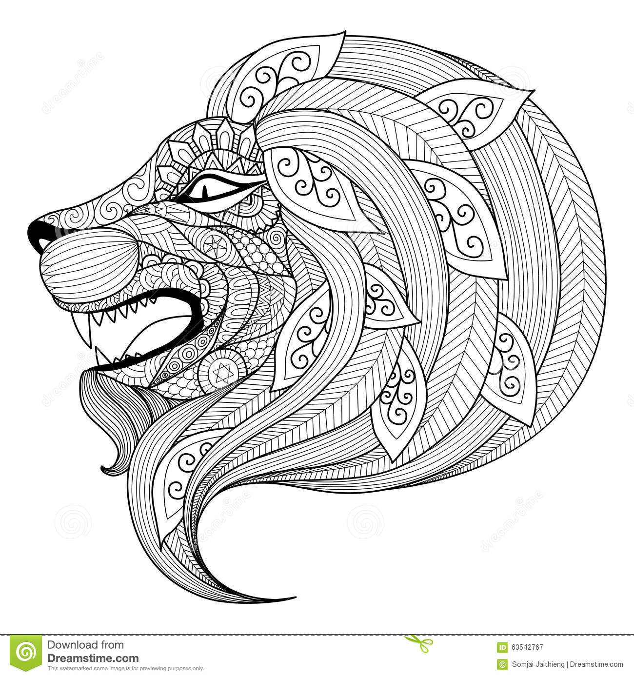 hand drawn zentangle angry lion puppy for coloring page stock