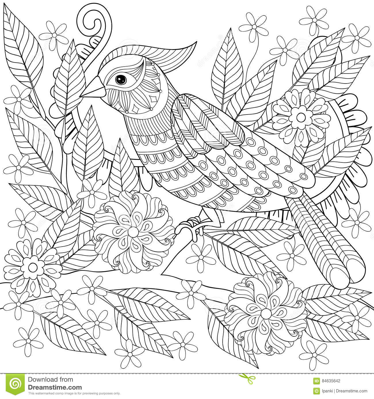 Hand drawn zentangle bird sitting on blooming tree branch for Coloring page parrot