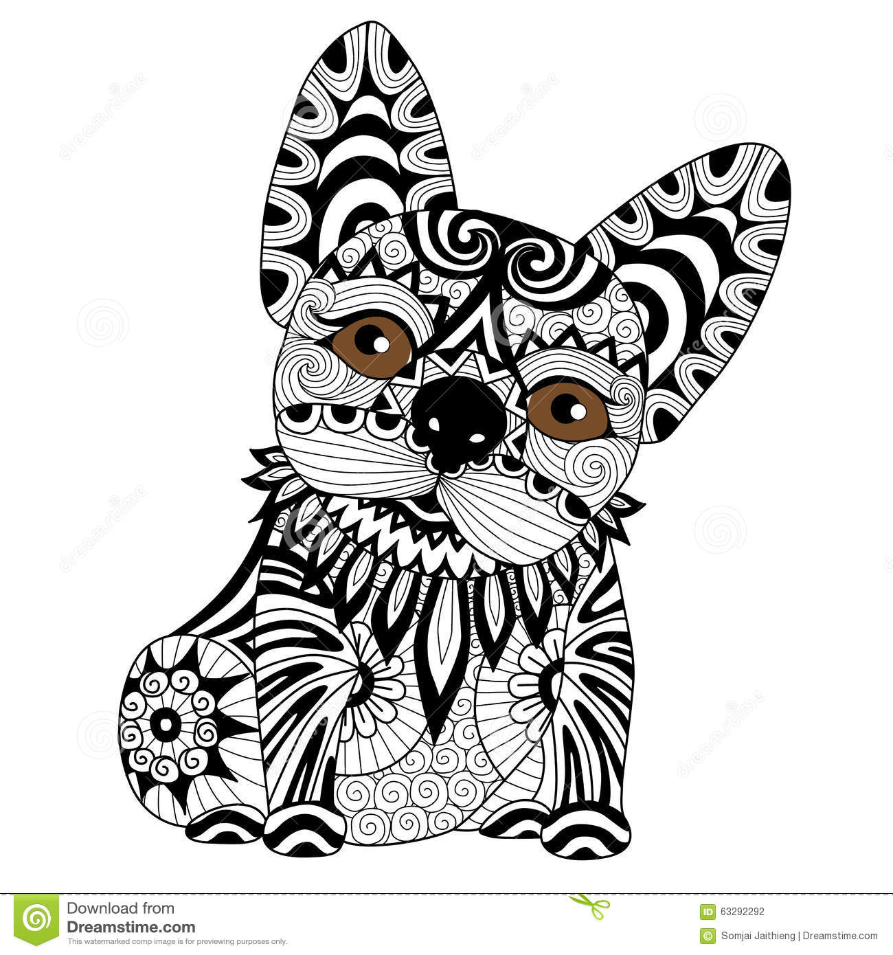 Hand Drawn Zentangle Bulldog Puppy For Coloring Page Stock