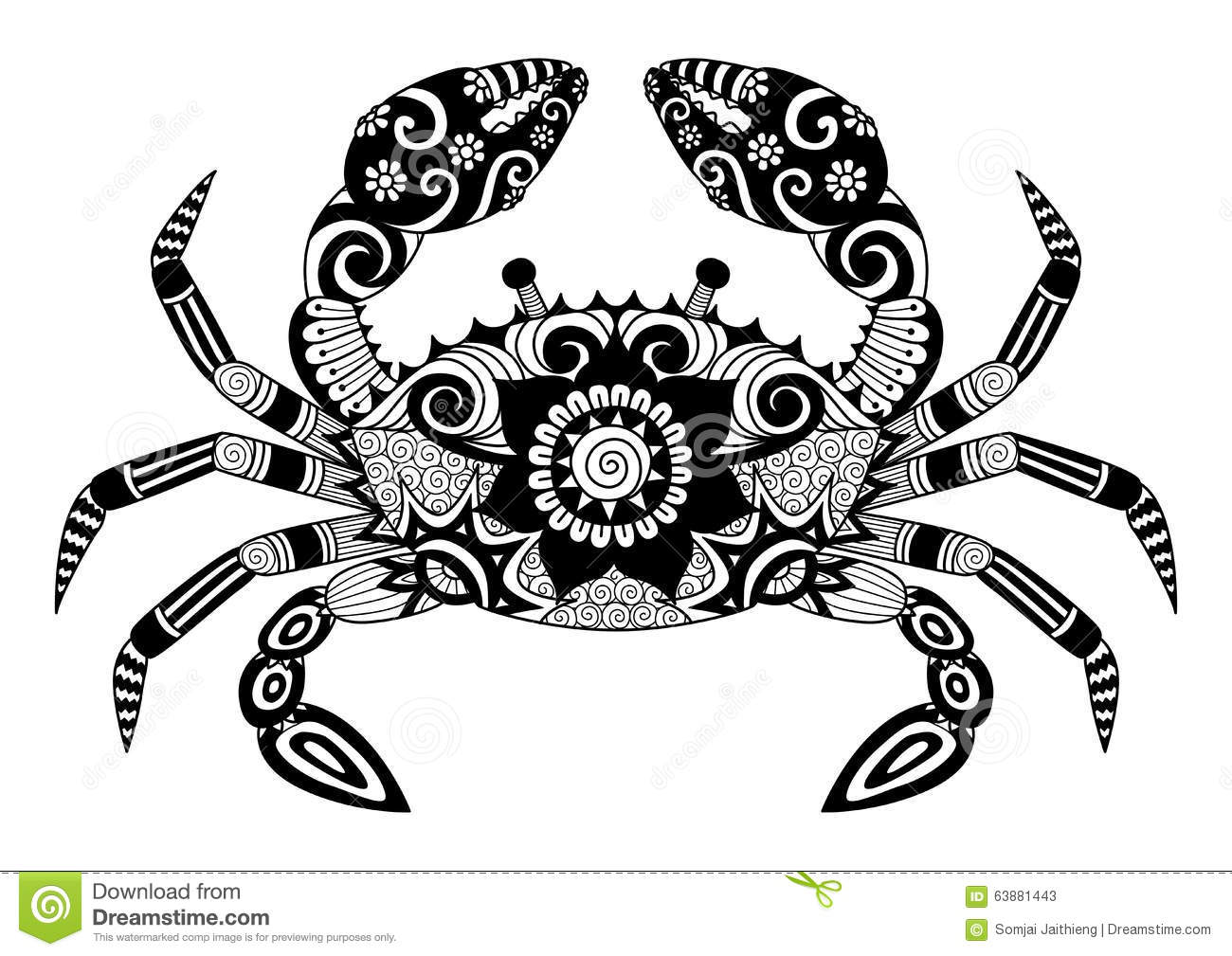 Hand Drawn Zentangle Crab For Coloring Book For Adult, Tattoo, Shirt Design, Logo And So On ...