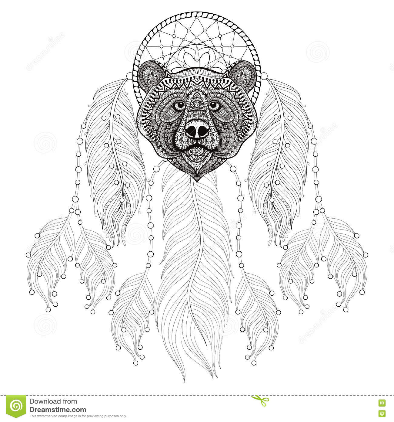 Patterned head of bear cartoon vector for Bear head coloring page