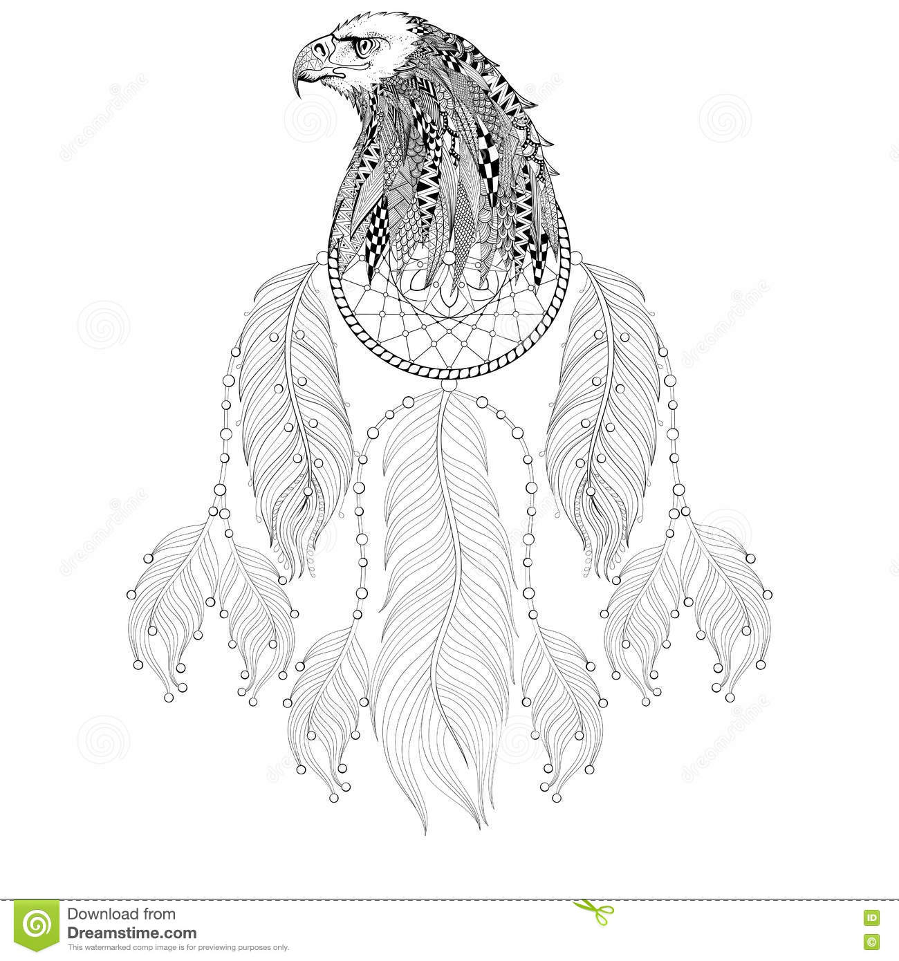 hand drawn zentangle dreamcatcher with eagle head for adult colo - Free Colo