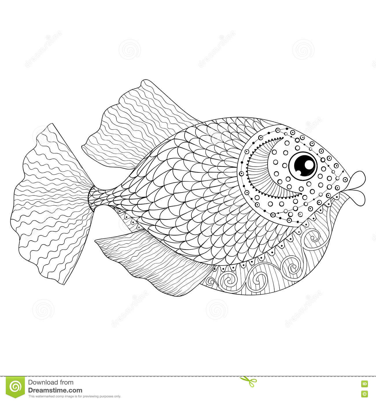 Hand drawn zentangle fish for adult anti stress coloring for Adult fish coloring pages