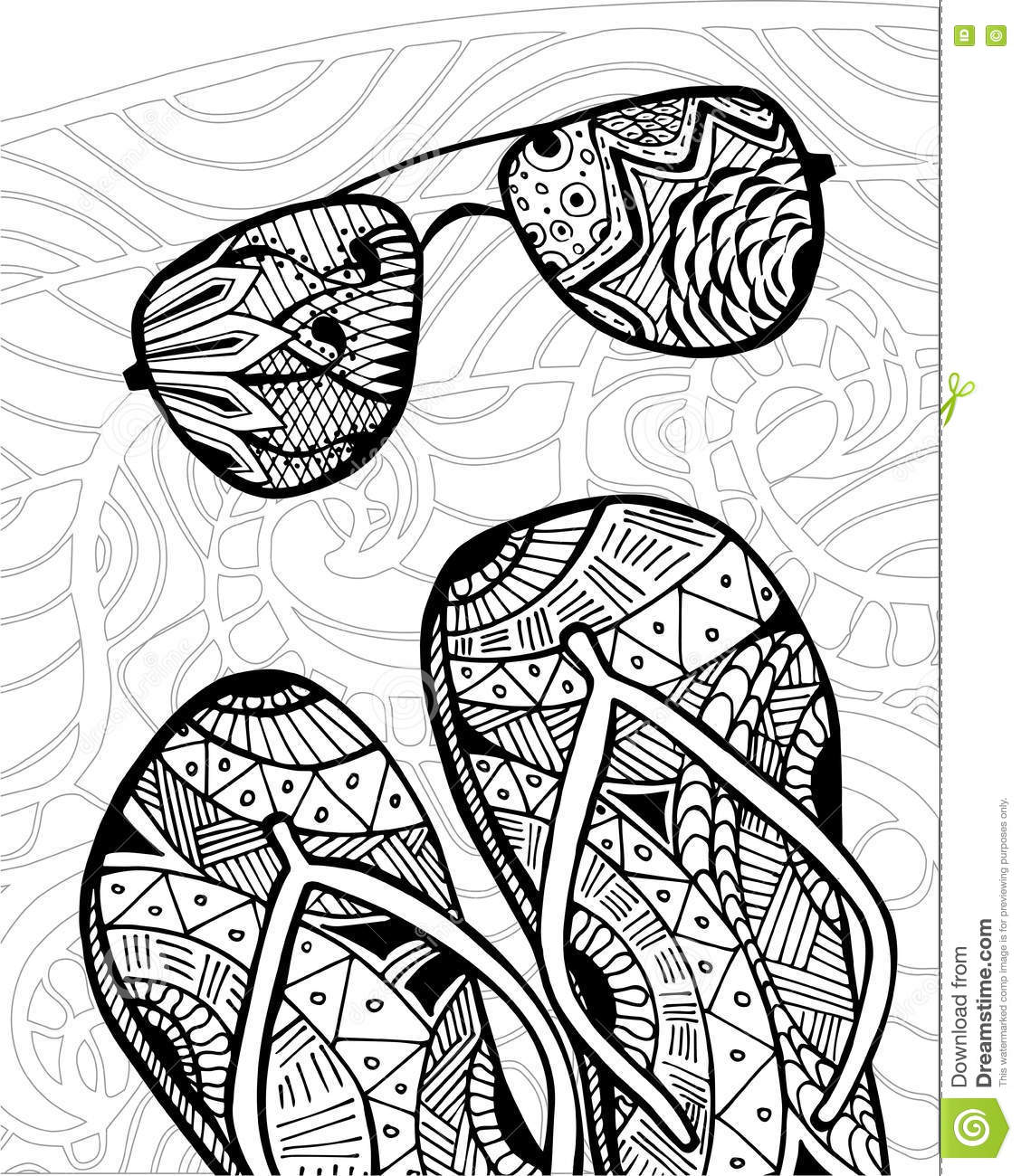 Hand Drawn Zentangle Of Flip Flops For Coloring Book Illustration 71271346