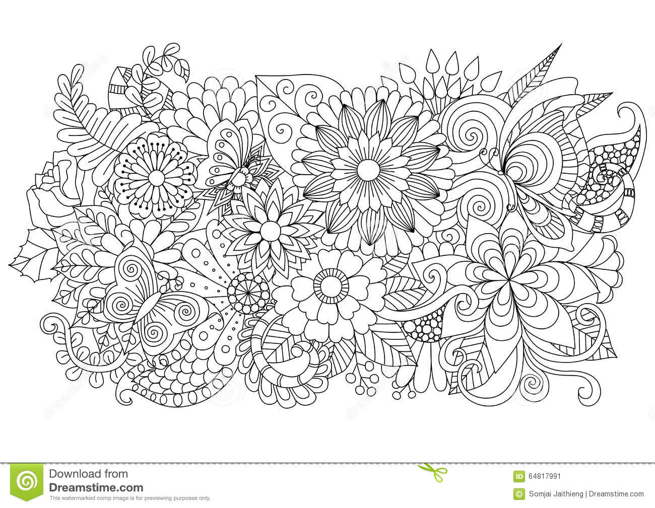 Hand Drawn Zentangle Floral Background For Coloring Page Stock