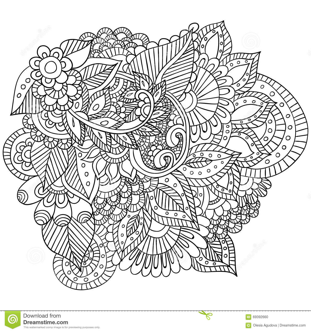 Hand Drawn Zentangle Flowers And Leaves For Adult Anti Stress. Stock ...