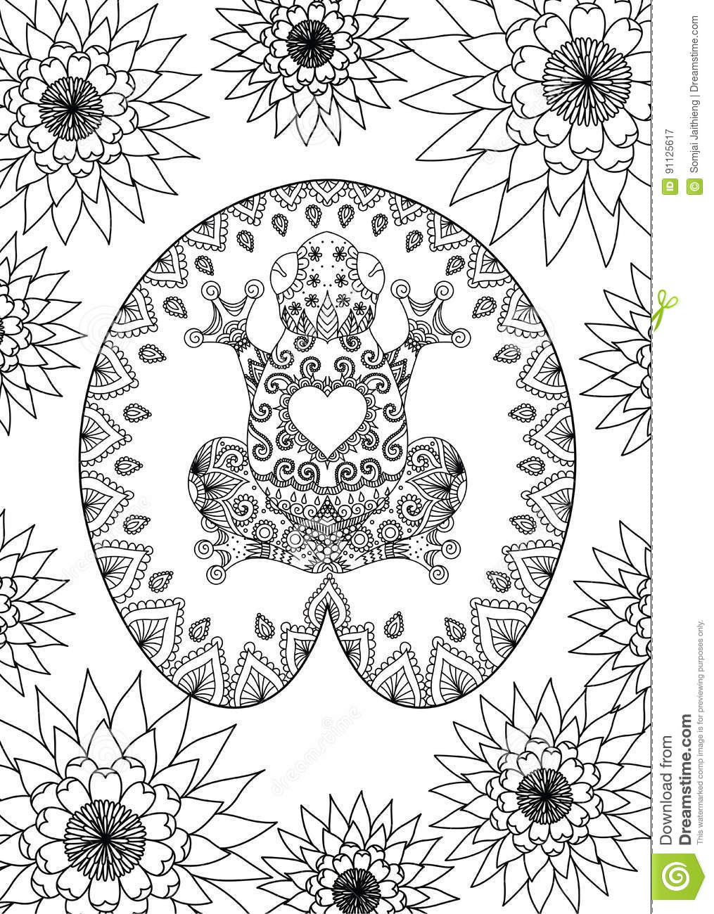 Lotus designs coloring book - Royalty Free Vector Download Hand Drawn Zentangle Frog Sitting On The Lotus Leaf Design For Adult Coloring Book Page