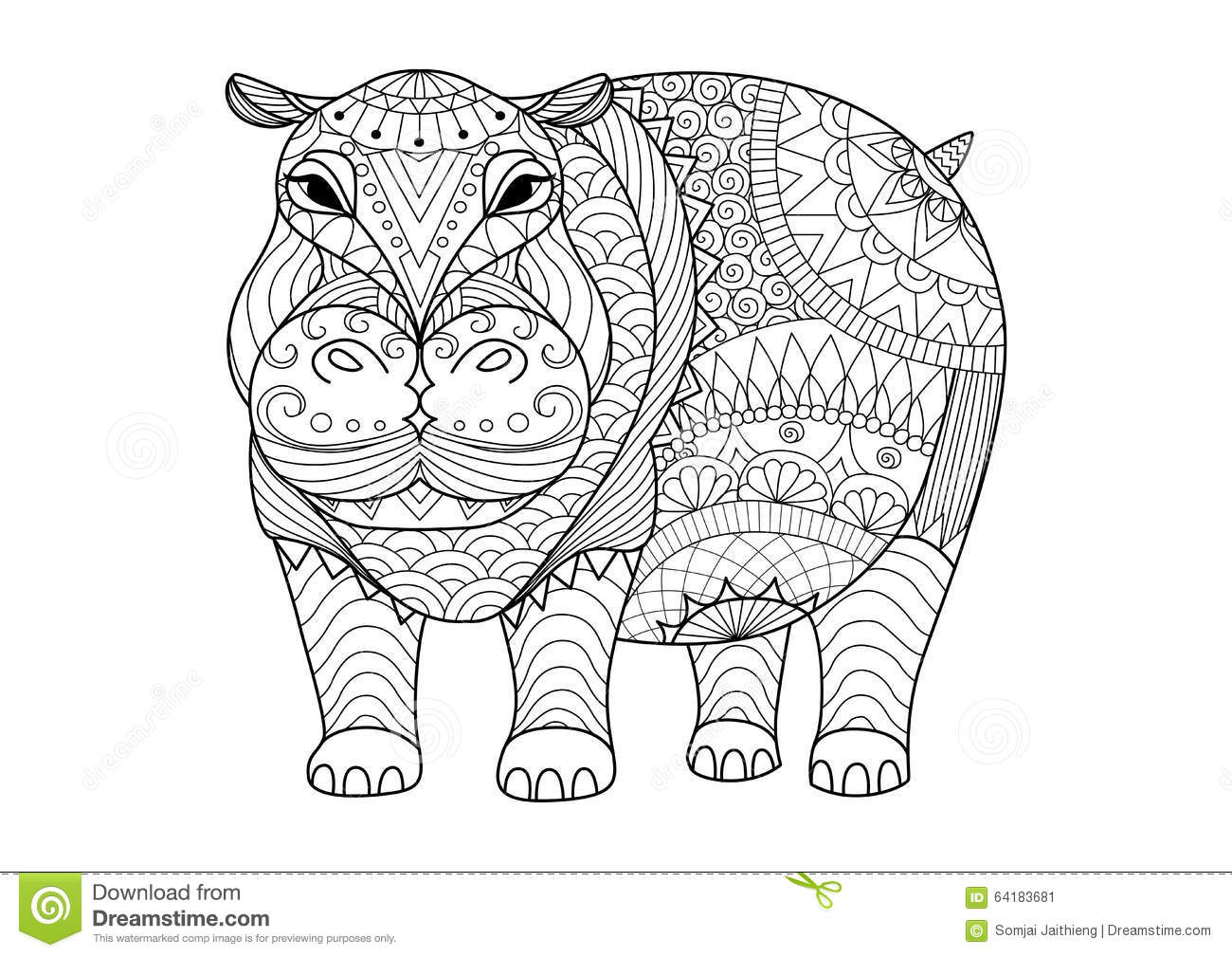 Hand Drawn Zentangle Hippopotamus For Coloring Book For Adult