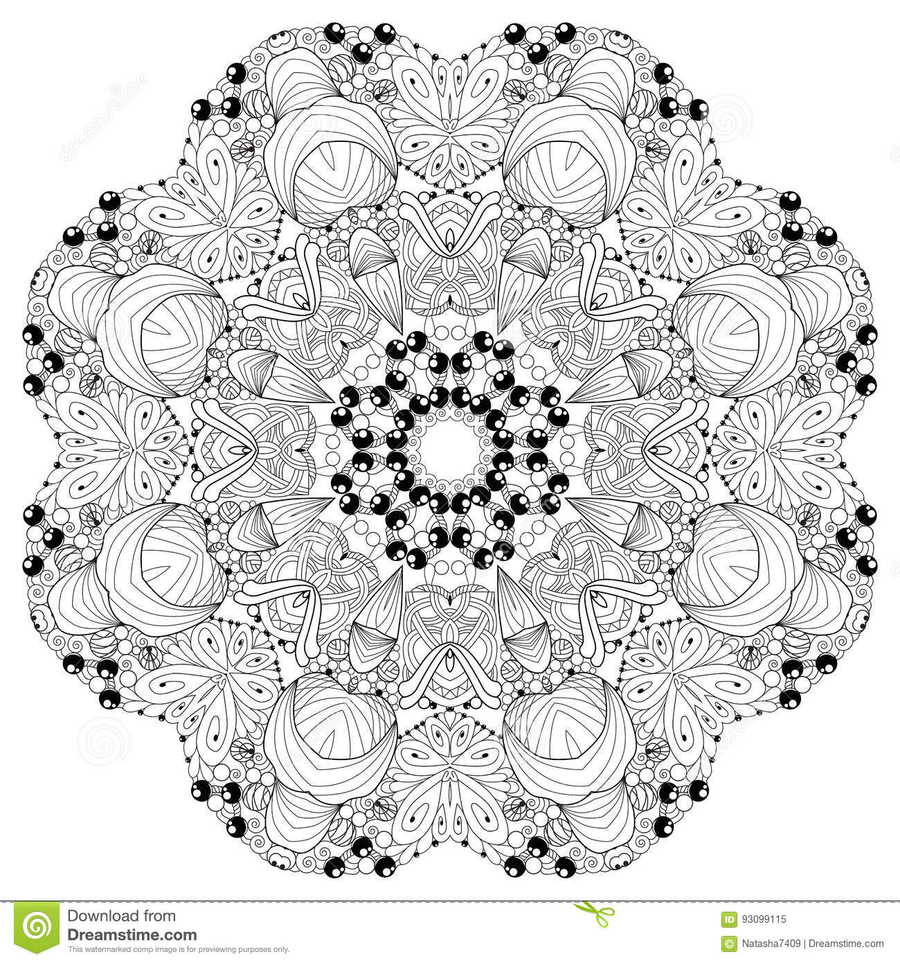 Hand Drawn Zentangle Mandala For Coloring Page Stock Vector