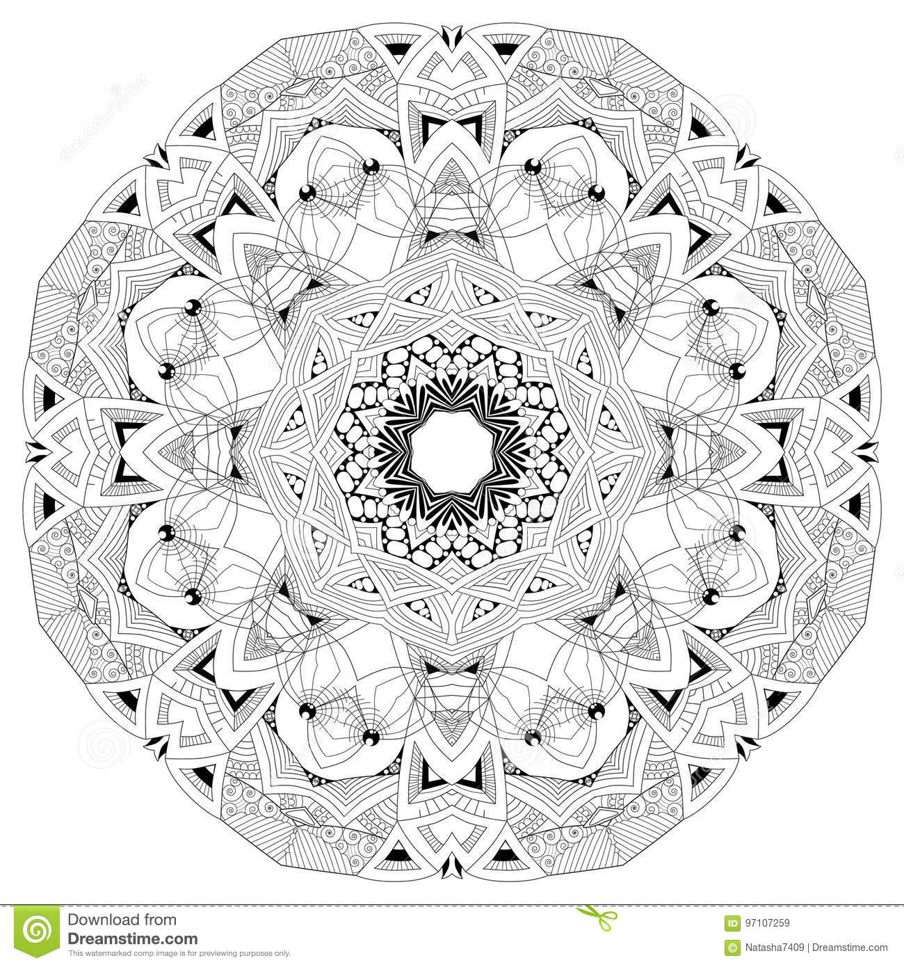 Hand Drawn Zentangle Mandala For Coloring Page