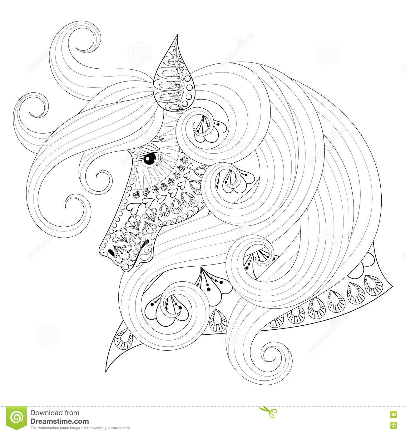 Hand Drawn Zentangle Ornamental Horse For Adult Coloring Pages ...