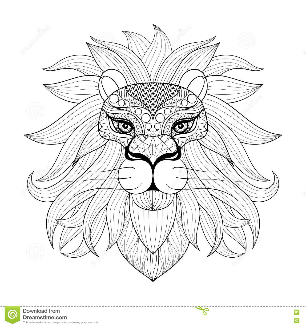 Hand Drawn Zentangle Ornamental Lion For Adult Coloring