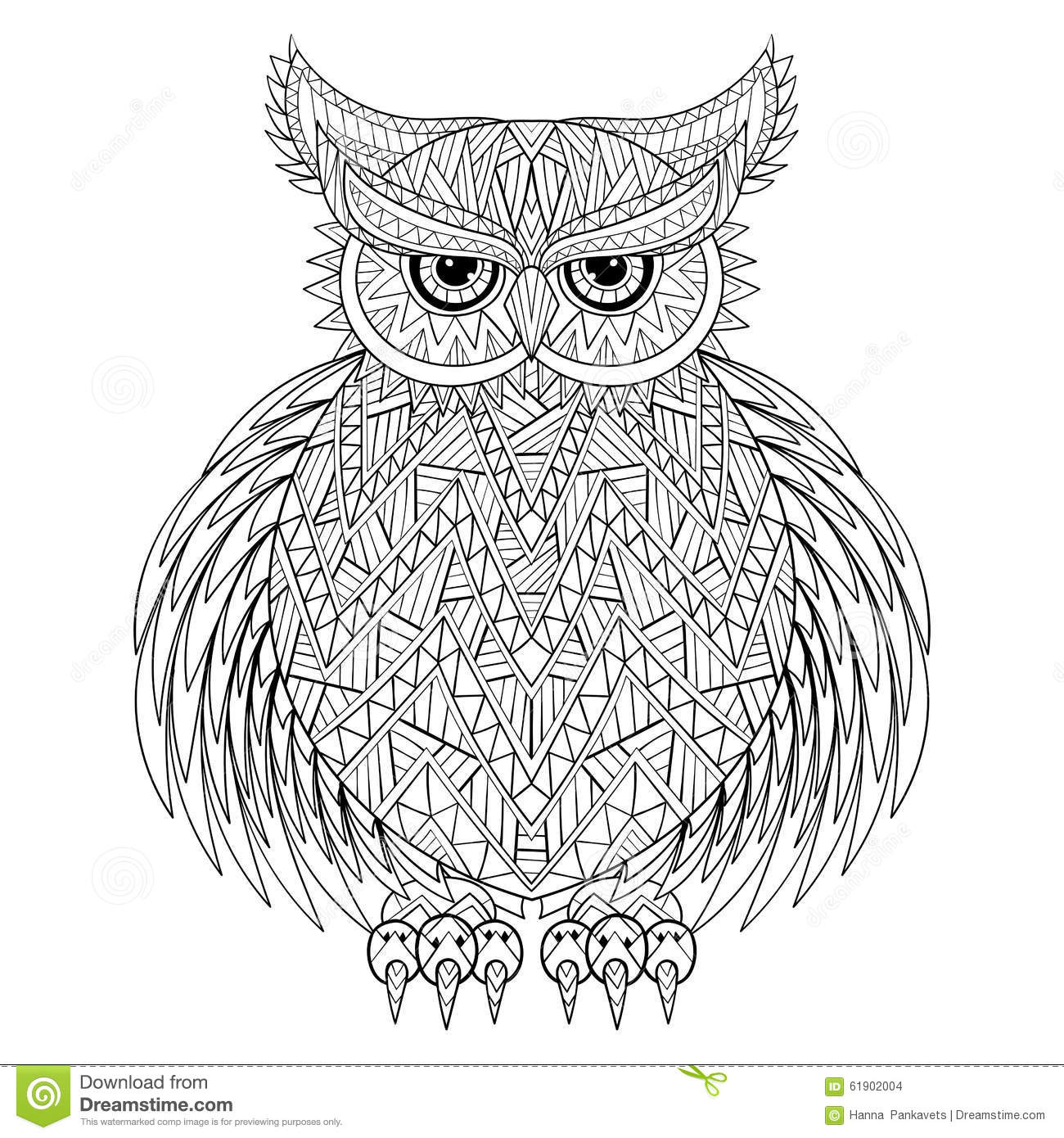 Afbeelding Uil Kleurplaat Hand Drawn Zentangle Owl Stock Vector Image Of Coloring